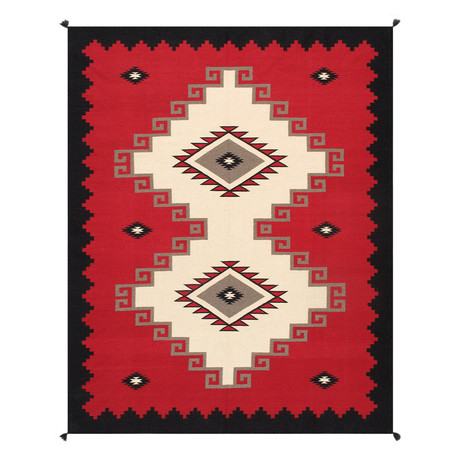 Navajo Style Hand-Woven Wool Area Rug // V47