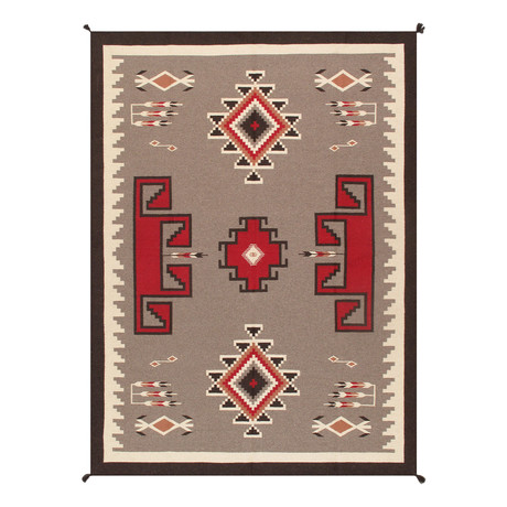 Navajo Style Hand-Woven Wool Area Rug // V3