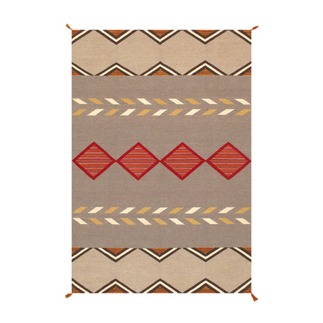 Navajo Style Hand-Woven Wool Area Rug // V2