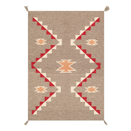 "Navajo Style Hand-Woven Wool Area Rug // V24 (3'1"" x 5')"