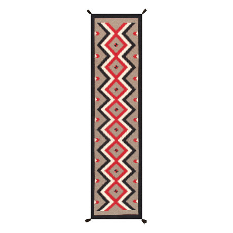 Navajo Style Hand-Woven Wool Area Rug // V35