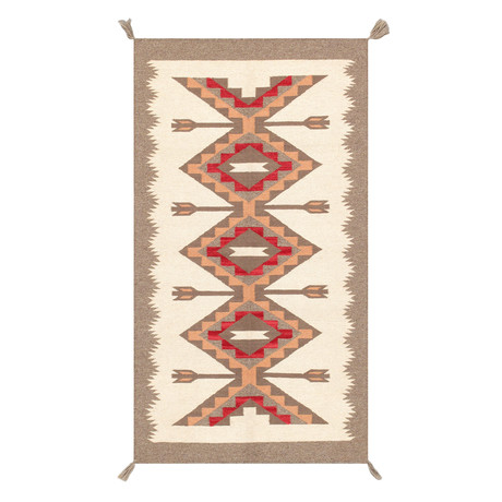Navajo Style Hand-Woven Wool Area Rug // V25
