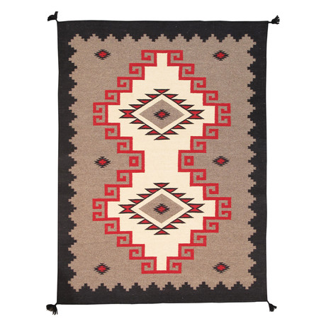 Navajo Style Hand-Woven Wool Area Rug // V1