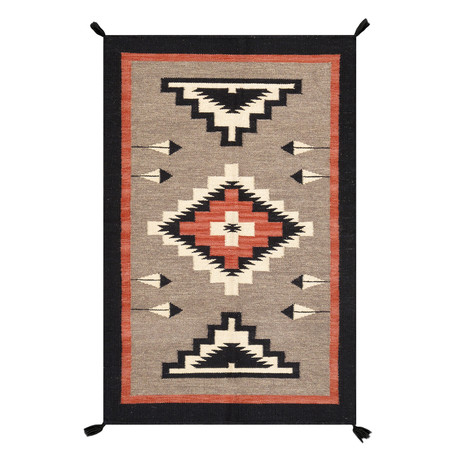 Navajo Style Hand-Woven Wool Area Rug // V29