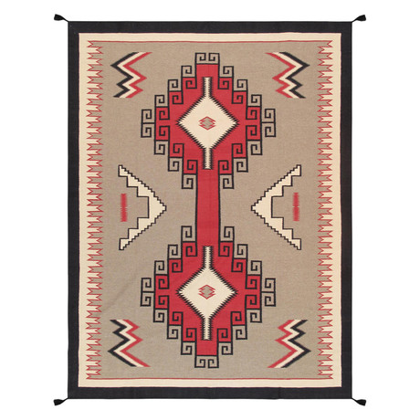 Navajo Style Hand-Woven Wool Area Rug // V14