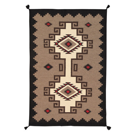Navajo Style Hand-Woven Wool Area Rug // V5