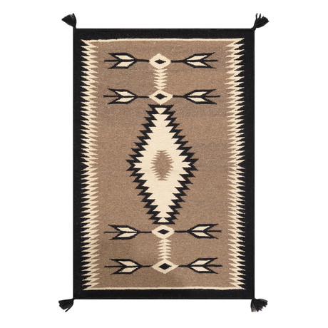Navajo Style Hand-Woven Wool Area Rug // V37