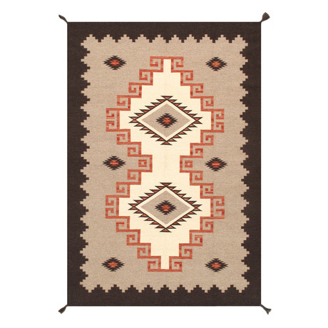 Navajo Style Hand-Woven Wool Area Rug // V6