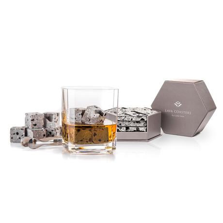 Lava Whiskey Stones + Coasters Bundle