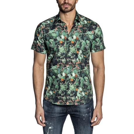 Paul Short Sleeve Button-Up Shirt // Black Cactus (S)