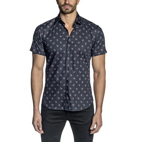 Harry Short Sleeve Button-Up Shirt // Black (S)