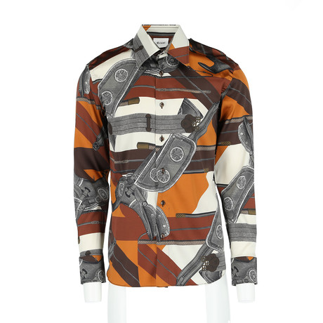 Jared Long-Sleeve Regular Fit Shirt // Dark Brown + Mustard (XS)