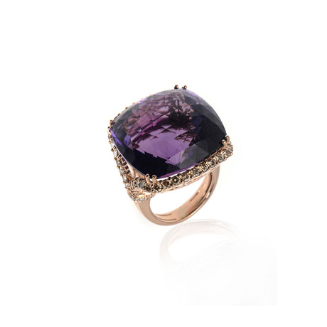 Crivelli 18k Yellow Gold Diamond + Amethyst Ring // Ring Size: 5.25