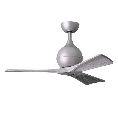 "Irene // 3-Blade 42"" Paddle Fan // Brushed Nickel Finish (Barn Wood Tone Blades)"
