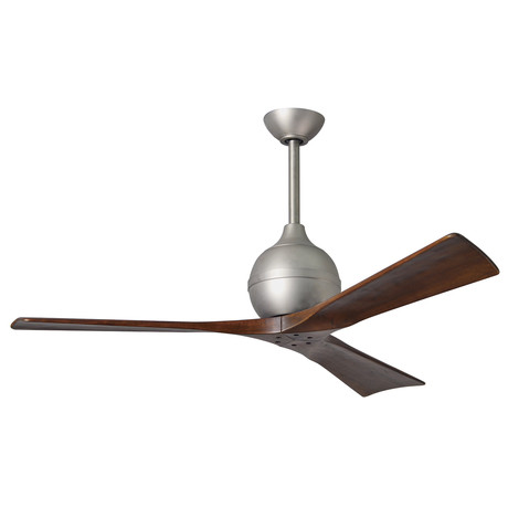 "Irene // 3-Blade 52"" Paddle Fan // Brushed Nickel Finish (Walnut Tone Blades)"