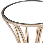Dunand Gold Metal & Mirror End Table