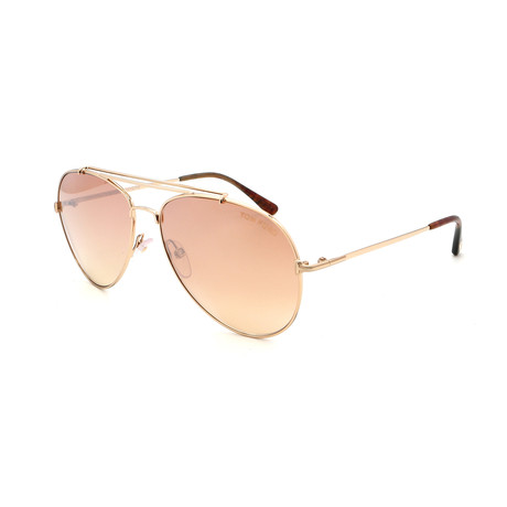 Unisex Aviator Sunglasses // Shiny Rose Gold