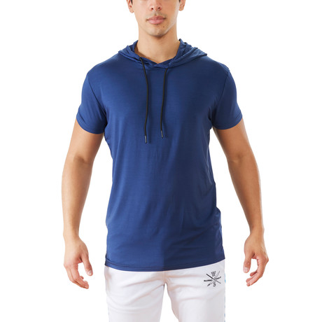 Terra Luxe Cotton Hooded Tee // Blue (S)