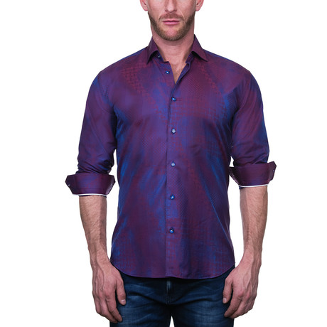 Fibonacci Art Dress Shirt // Purple (S)