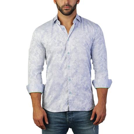 Fibonacci Triangle Dress Shirt // White + Light Blue (S)