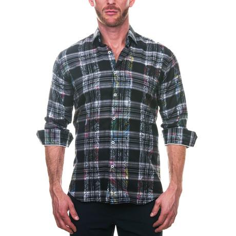 Fibonacci Paisley Checkered Dress Shirt // Black (S)