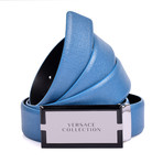 Versace Collection // Leather Belt // Blue + Nickel
