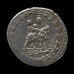 Roman Republic Silver Coin, 85 BC // Cupid on goat