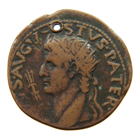Augustus Caesar Bronze Coin // Holed in Antiquity