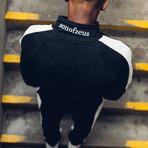Striped Track Jacket // Black + White (M)