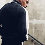 Striped Track Jacket // Black + White (S)
