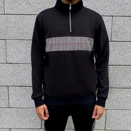 Check Panel Half Zip Jumper // Black (S)
