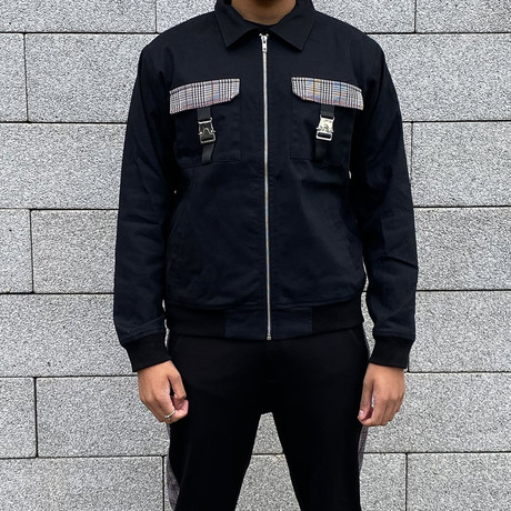 Cargo Pocket Bomber Jacket // Black (S)
