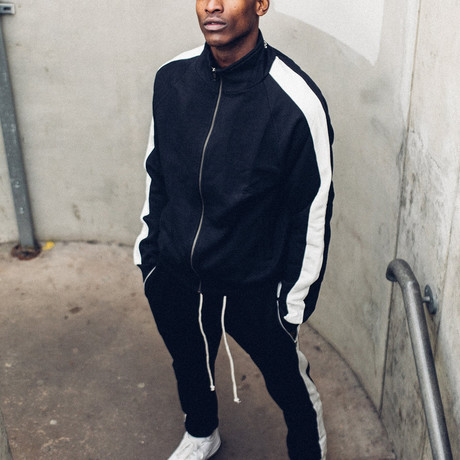 Striped Track Jacket // Black + White (S)