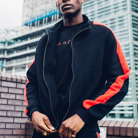 Striped Track Jacket // Black + Red (S)