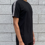 Check Stripe T-Shirt // Black (L)