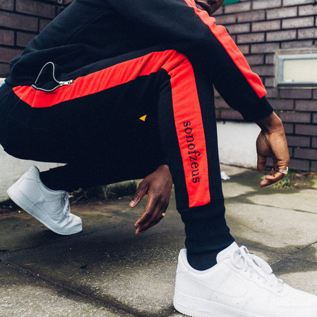 Striped Track Pants // Black + Red (S)