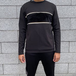 Velvet Panel + Reflective Stripe Jumper // Black (S)