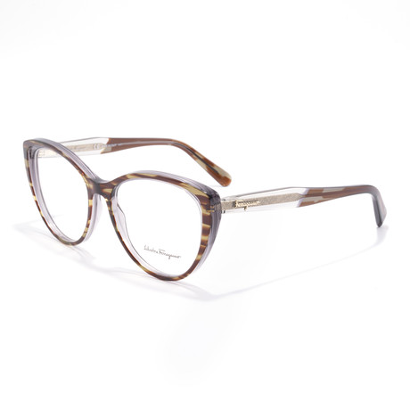 Women's SF2812 Optical Frames // Striped Gray + Brown + Green