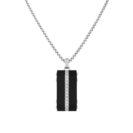 Textured Circular Necklace // Silver + Black