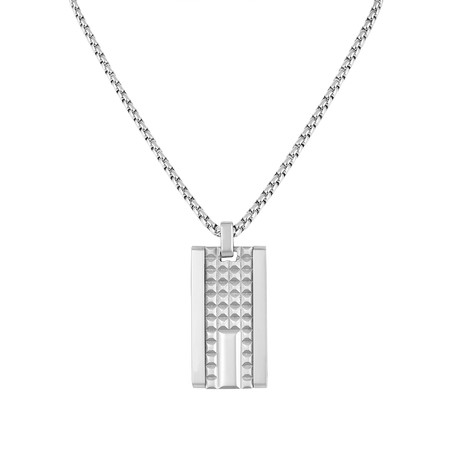 Textured Rectangle Tag Necklace // Silver