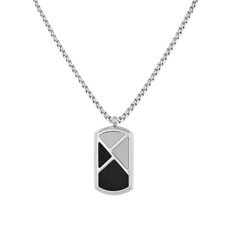 Dark Triangle Tag Necklace // Silver + Black