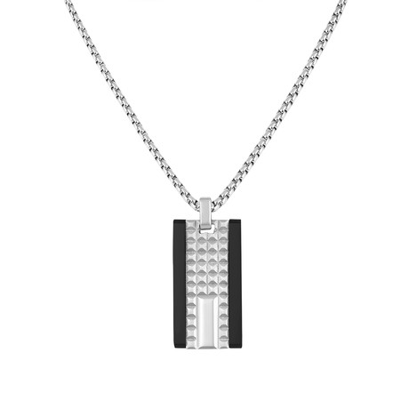 Textured Rectangle Tag Necklace // Silver + Black