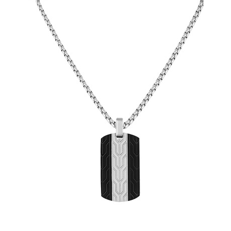 Round Tag Necklace // Silver + Black