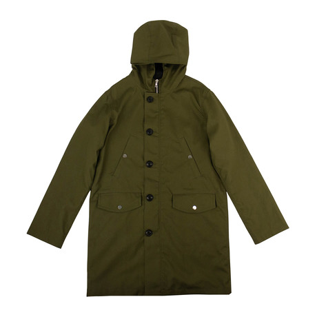 Men's 'Lost Boys' Face Long Parka Coat // Green (XS)