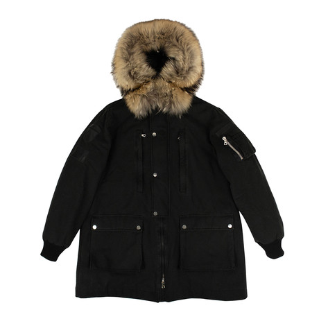 Men's Faux Fur Hood Long Parka Coat // Black (XS)