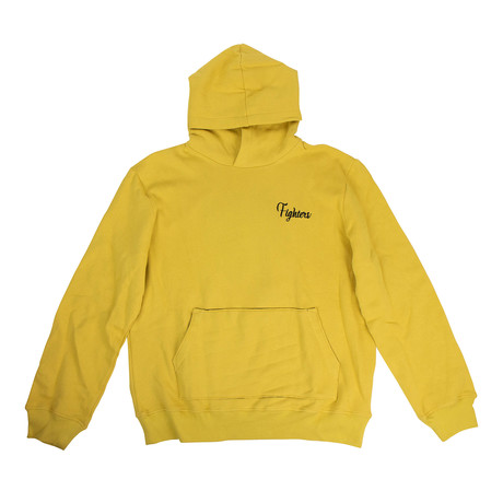 Men's Embroidered 'Fighters' Hoodie // Yellow (XS)