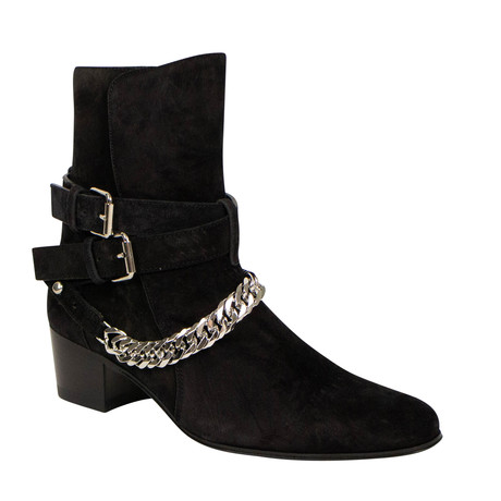 Women's Buckle Chain Boots // Black (US: 6)