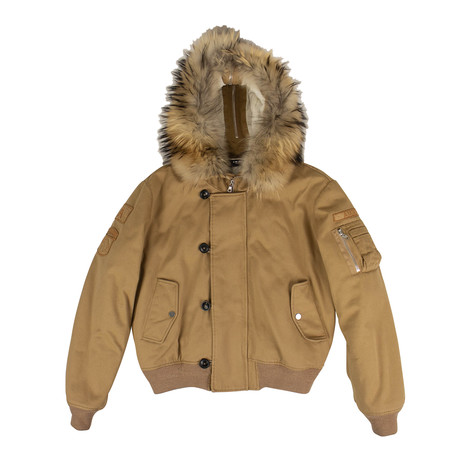 Men's Faux Fur Hood Bomber Jacket // Brown (XS)