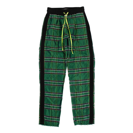 Men's Plaid Straight Leg Track Pants // Green (XS)