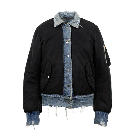 Women's Reversible Distressed Denim Bomber Jacket // Black (XS)